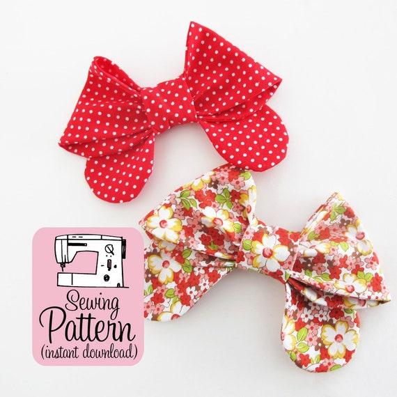 Bows Pdf Sewing Pattern Sew Medium Size Fabric Bows To Use Etsy