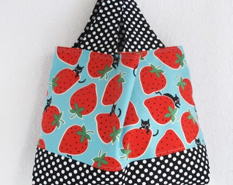 Strawberries and Cats Fabric Tote Bag | Medium handbag to use as a market tote grocery shopping bag, carry all, project tote or storage bag.