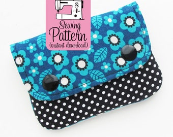 Two Pocket Wallet PDF Sewing Pattern | Beginner sewing project to make a two pocket pouch to use as a small mini wallet.