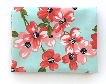 Pink and Red Dogwood Fabric: FAT QUARTER of Full Bloom from Sunday Stroll by Bonnie and Camille for Moda Fabrics