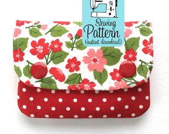 Two Pocket Wallet PDF Sewing Pattern (Digital Delivery): Beginner friendly sewing tutorial to make a mini wallet with two pockets.