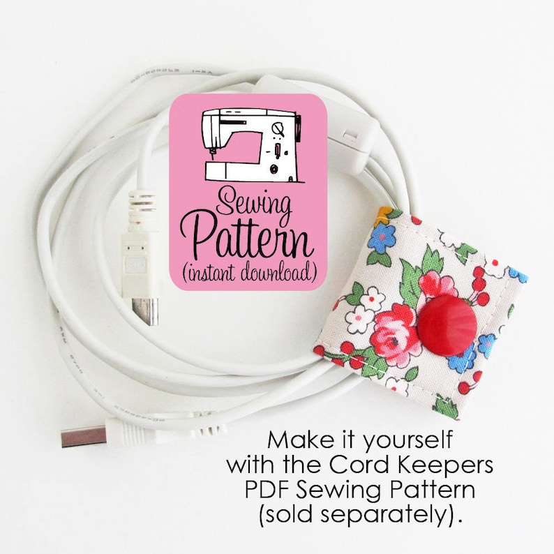 Bloom Cord Keeper Floral cotton fabric earbud cord organizer holder for small cords and cables.