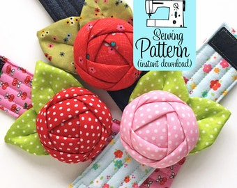 Rose Pincushion Cuff PDF Sewing Pattern (Digital Delivery): Instructions to make a bracelet pin cushion to wear while you sew.