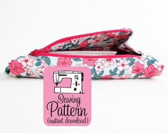 Gusset Zipper Pocket PDF Sewing Pattern | Learn how to make a zippered pocket with a gusset that allows it to open wide.