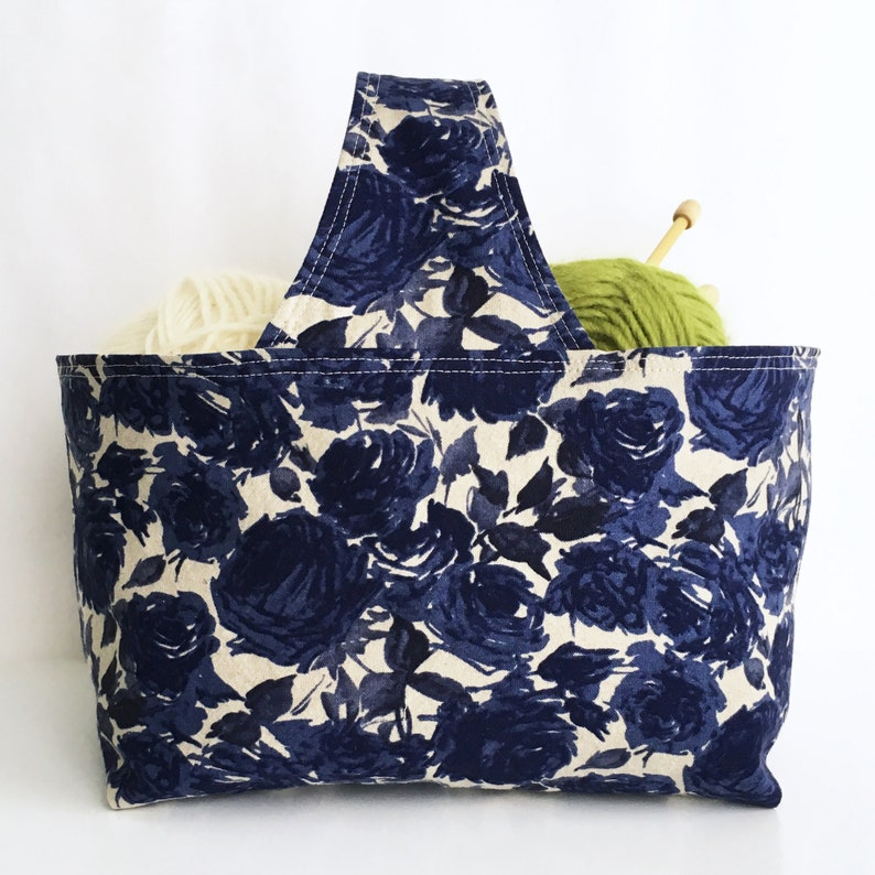 Basket Bag: Small tote to use for knit or crochet project bag image 0