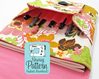 Idea Pouch PDF Sewing Pattern (Digital Delivery): Sew a large two pocket pouch using this intermediate level sewing project tutorial.
