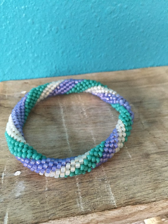 Mermaid Twist Crocheted Rope Bangle Bracelet | Etsy