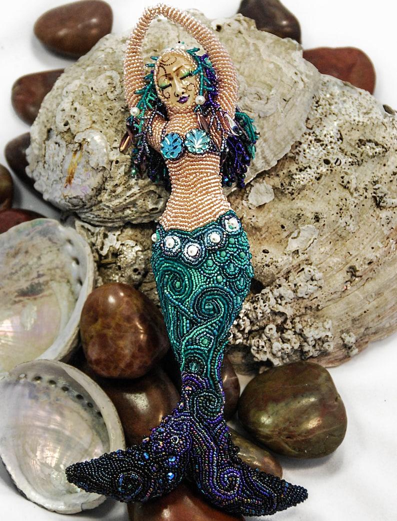 Emergence  Beaded Mermaid Art Doll image 0