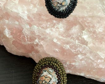 Leopardskin Jasper Cabochon Ring - Choose One