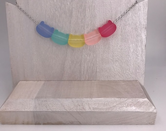Rainbow kitty necklace with pastel acrylic beads