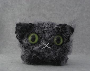 Crocheted charcoal grey plush kitty