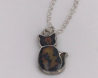 Color-changing hand-painted tortie kitty mood necklace