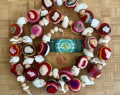 Shell Garland Striped and Spotted Beachy Garland Wool Felt Balls and Wood Beads