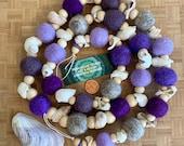 Shell Garland Purple Shell Colors Beachy Garland Wool Felt Balls and Wood Beads