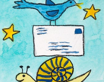 Snail Mail Card Set recycled paper cards snail