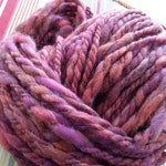 Rose Clouds RockStar Handspun Yarn - 55 yds -thick/thin 2 ply, muted pinks, oranges, purples