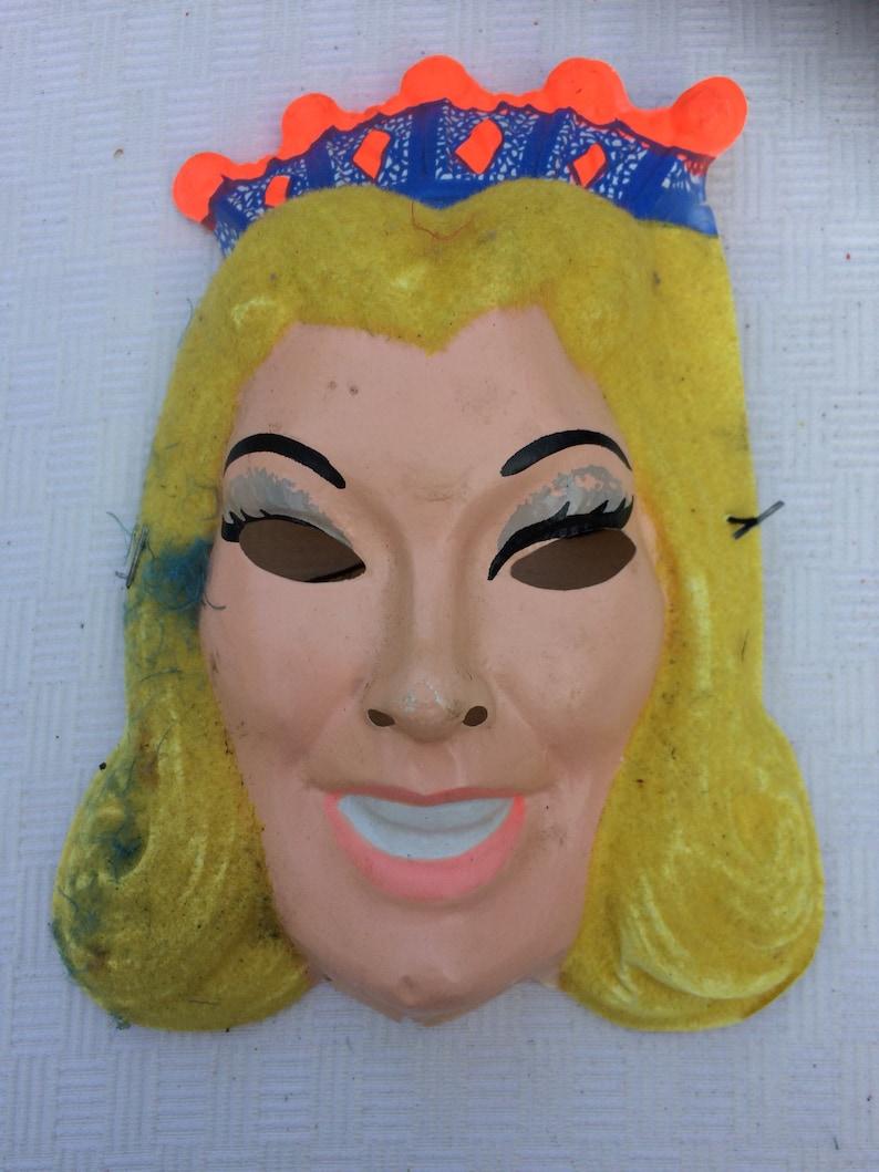 Vintage Ben Cooper Neon Golden Princess Mask and Costume