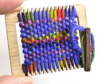 Mini Weaving Loom Kit, Miniature Craft Kit, Tiny Weaving Loom, Ornament Craft Kit, DIY Weaving Loom