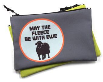 Knitting Notions Bag, Sci Fi Knitting, Sheep Bag, May the Fleece Be With You, Crochet Storage Bag, Reusable Craft Storage, Sheep Pun