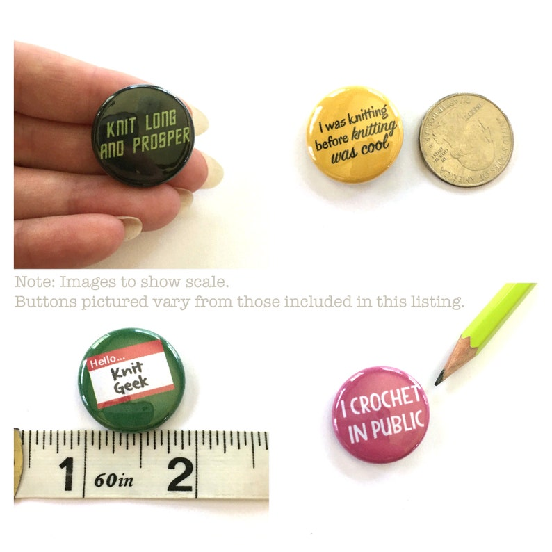 1 inch Pin Back Buttons Gift for Knitter Set of 4 Yarn Hoarder Knitting Pins Knitting Puns