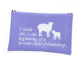 Be-ewe-tiful Friendsheep Knitting Tool Bag, Notions Pouch, Felting Tools Storage, Sheep Project Bag, Knitting Puns, Sheep Tote