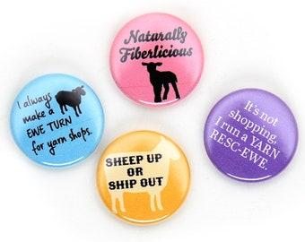 Sheep Puns Pin Set, 1 inch Pin Back Buttons, Sheep Up, Knitting Badges, Set of 4
