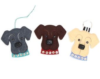 Embroidered Felt Dog Craft Kit, Labrador Keyring, Embroidery Kit, Dog Pin Sewing Kit, Black Lab Pin Kit, Beginner Sewing Kit