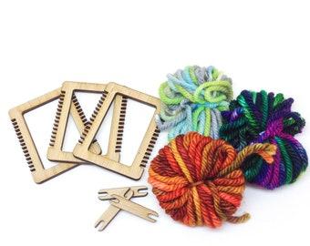Craft Care Package, Mini Weaving Loom Kit, Set of 3, DIY Weaving Craft Kit, Beginner Weaving Set
