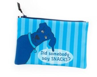 Snack Dog Zipper Bag, Knitting Notions Bag, Sock Project Bag, Eco Friendly Storage, Craft Storage Zipper Pouch, Black Lab