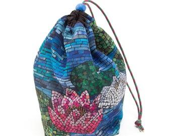 Drawstring Project Bag, Knitting Storage Bag, Mosaic Waterlilies, Crochet Project Bag, Travel Knitting Bag, Sock Project Bag