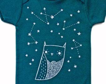 Organic Baby Clothing, Dark Teal Constellation Baby Clothes Baby Outfit Baby One Piece Baby Gift constellation baby shower gift