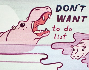 Funny 2021 Gift — To Do List Notepad — Teacher Gift — 2021 Gag gift for Friends — Funny Hippo Gifts — Hippopotamus gifts