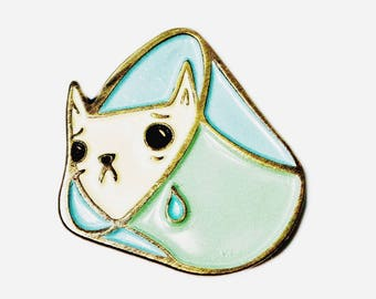 SAD CAT pin, cat cone collar pin, veterinarian gift, pastel lapel pin, vaporwave enamel pins, aesthetic, soft grunge, enamel lapel pin flair