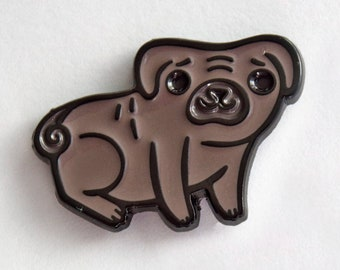 BLACK PUG PIN - enamel pin - gift for him, pet dad, dog lover gift, dog pin, mens lapel pin, cute enamel pins and patches, pug gifts, black