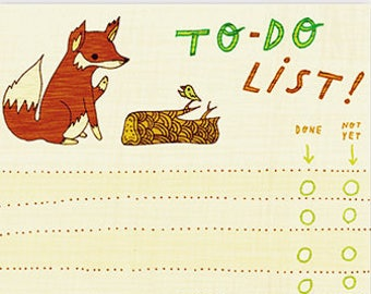 TO DO NOTEPAD - inspirational gift for her, to do list fox notepad, girlfriend mindfulness gift, bujo graduation gift for her, daily planner