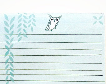 Owl LETTER PAD, letter writing paper pad - writing pad, letter paper, letter set, owl stationery paper, letter stationery, owl notepad