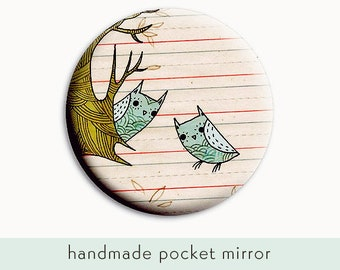 Handmade makeup mirror - doodle art POCKET MIRROR, compact locker mirror, gift for girlfriend, teacher gift, purse mirror, girlfriend gift