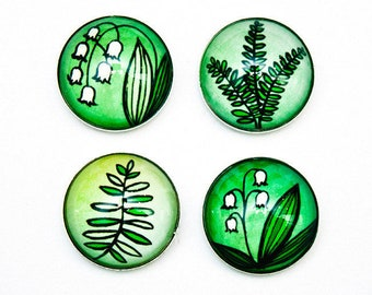 Lily of the valley MAGNETS - botanical gifts for mom, floral gift for her, plant mom gift, stocking stuffer, glass fridge magnets, greenery