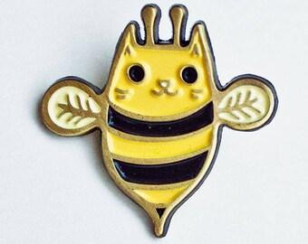 Enamel pin CAT BEE cat pin, bee pins, honey bee brooch, bumble bee cat enamel pin kawaii cat lover gift, bee jewelry, cute gift idea
