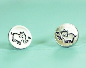elephant stud earrings, animal jewelry gift, ELEPHANT EARRINGS, sterling silver elephant studs, animal earrings, animal stud earrings