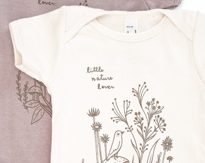 Nature Lover Baby Clothing - Little Nature Lover Baby Bodysuit - Organic Cotton Baby Clothes, shop organic baby clothes, nature baby clothes