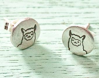 Silver Llama Earrings -- Cute Alpaca stud earrings -- Llama jewelry -- llama stud earrings -- sterling silver stud earrings