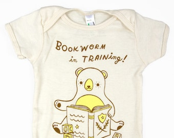 Bookworm Baby Outfits Book Theme Baby Shower Gift book lover baby clothing Baby Bodysuit Organic Baby Outfit him bookworm for her baby gift