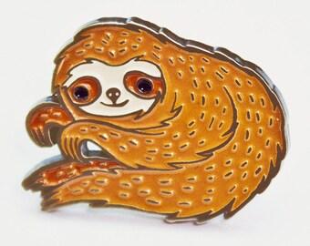 SLOTH enamel pin - sloth pins, kawaii brooch, backpack pins, creepy cute, punk pins, lapel pins men, cute enamel pins, brooch pin sloth gift