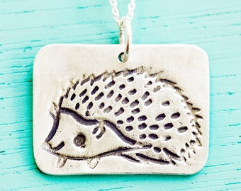 Handmade Animal Jewelry, Hedgehog Pendant Necklace, Gift for her, Hedgehog jewelry / Sterling silver hedgehog necklace, Handmade jewelry