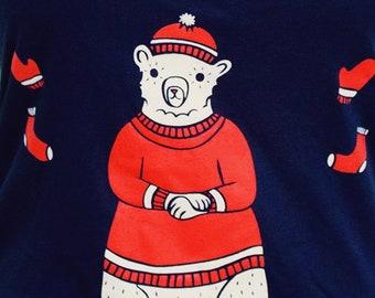 graphic tee shirt — screen print shirt for women, T SHIRT for girls, girlfriend gift for her, screen printed t shirt for women, polar bear