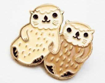 Sea OTTER PIN — Otters Holding Hands Enamel Pin — Otter Jewelry otter lapel pin otter enamel pin — cute otters pin - cute pin