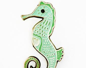 Pastel SEAHORSE PIN, enamel pin mermaid lapel pin, fairy kei jewelry, kawaii, mint green, seahorse enamel pin, fairy kei pin, kawaii pin
