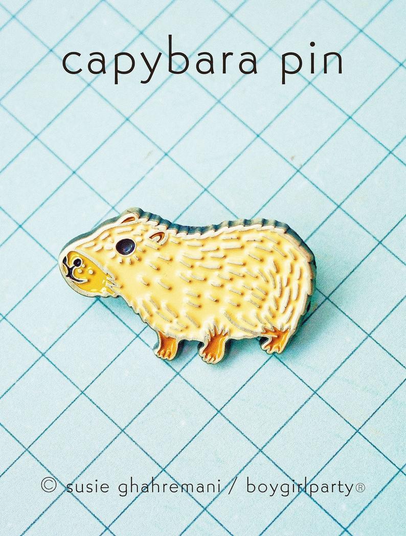 Capybara Enamel Pin Capybara Brooch Capybara Pin Badge Enamel image 0