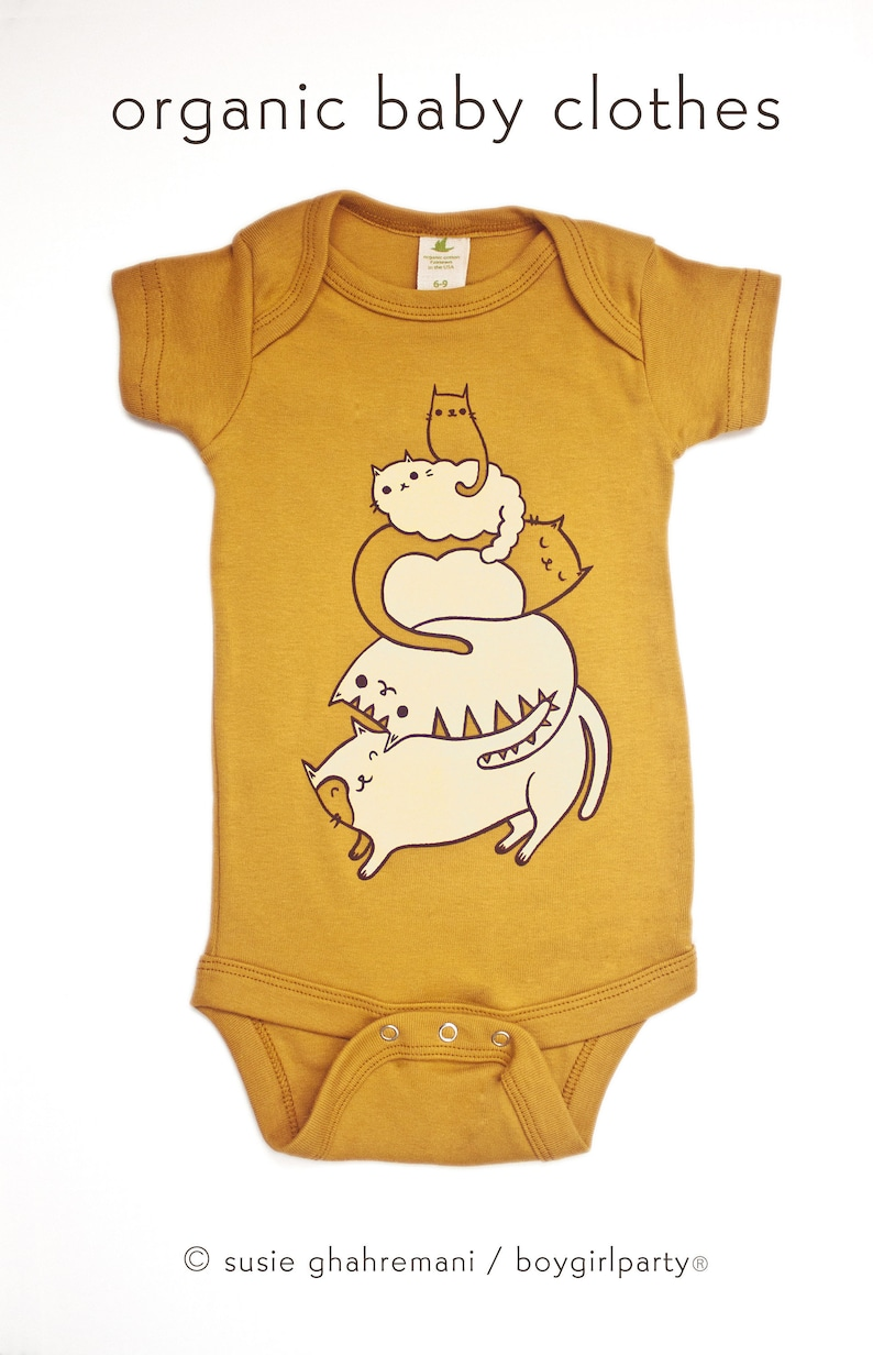 STACK THE CATS  Gender neutral baby clothes  Susie image 0